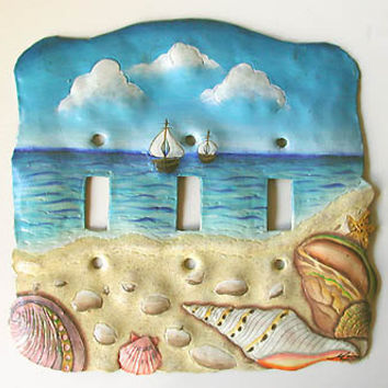 Light Switchplate Cover - Hand Painted Metal Switch Plate - Nautical Sea Shell Design - Handcrafted from recycled steel oil drums - S-1029-3