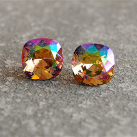 "Monet's ""Water Lily Pond"" Champagne Rainbow Swarovski Crystal Champagne Rainbow Stud Earrings Mashugana"