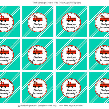 Fire Truck Favor Tags: INSTANT DOWNLOAD