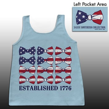 Sassy Frass Sassy Southern Collection USA American Flag Bows Patriotic Girlie Bright Comfort Colors Tank Top
