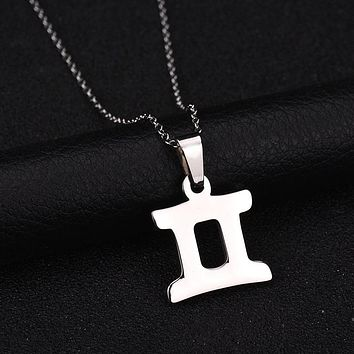 Charm Gemini Pendant Necklace Stainless Steel