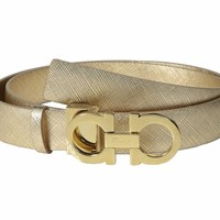 $395 NEW Salvatore Ferragamo Women Gold Leather Belt Remove Gancio Buckle Resize
