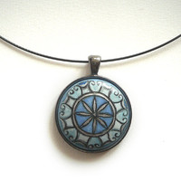 Modern Hand Painted Necklace, Sacred Geometry Necklace, Art Choker, Anthracite Metallic Setting, Blue Choker, Black Jewelry Wire by Artdora