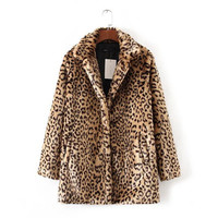 Winter Leopard Pattern Shaggy Furry Faux Fur Coat  Woman Keep Warm Lapel Long sleeve Hairy Long Faux Fur Jacket Outwear