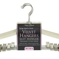 Karen Rhodes Ivory 6 Pack Velvet Suit Hanger with Metal Clips