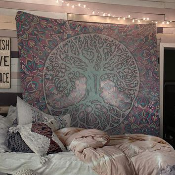 Tree Of Life Mandala Wall Tapestry Neutral Colors Yoga