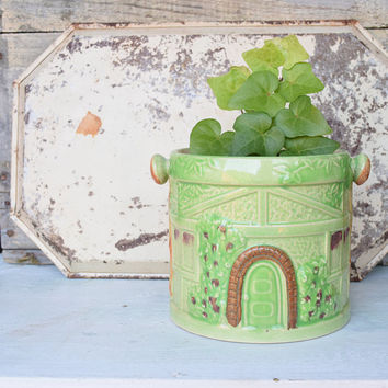 Green Planter, Whimsical, Utensil Holder, Green and Brown, Cottage Decor, Made in Japan, Treehouse, Woodland Cottage, Woodland Decor,Ceramic