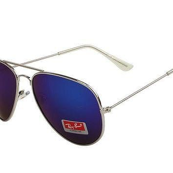 Ray Ban Aviator Gradient RB3025 Dark Blue Silver Sunglasses
