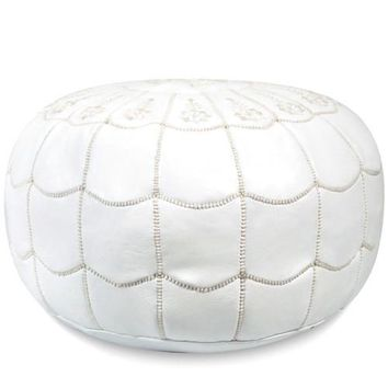 White Moroccan Leather Pouf with arch design Round Genuine Leather