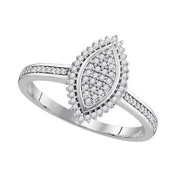 10kt White Gold Womens Round Diamond Oval Cluster Bridal Wedding Engagement Ring 1-5 Cttw