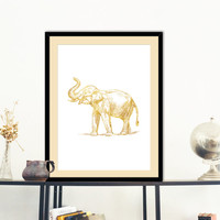 Elephant Gold Faux Foil Poster Print  Wall Art Decor Housewares Instant Download