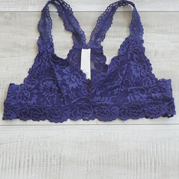 Seraphina Racerback Lace Bralette   Midnight Blue