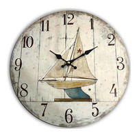 SAILING BOAT Wall Large Clock Coastal Style 13.50x13.50 Inches Wood Mdf