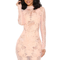 Clothing : Bodycon Dresses : 'Gialla' Peach Mesh and Lace Long Sleeved Dress