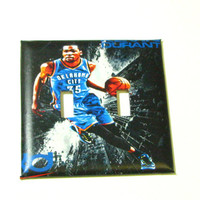 Double Light Switch Cover - Light Switch Plate Kevin Durant OKC Thunder Basketball