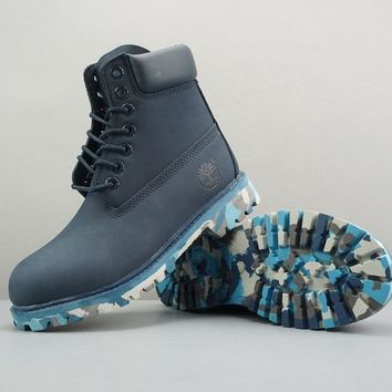 Timberland Leather Lace-Up Boot High Navy Camo Sole - Best Deal Online