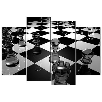 Black And White Wall Art 3D Chess Board Picture Canvas Home Decorative Painting For Living Room Wall Decor Prints Poster Art