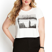 FOREVER 21 PLUS London Calling Knit Tee Cream/Black