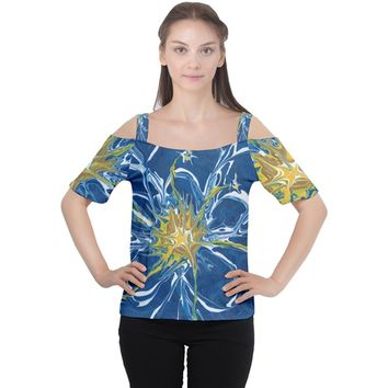 Blue Star Flower Cutout Shoulder Tee