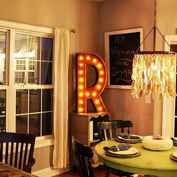"36"" Letter R Lighted Vintage Marquee Letters (Rustic)"