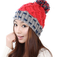 Knitted hat autumn and winter thermal meters powder white sphere knitted hat = 1958086084