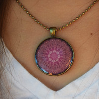 Pink Mandala Necklace - Gorgeous Fuschia Pink & Brown Tones for Carefree Hippie Boho Style