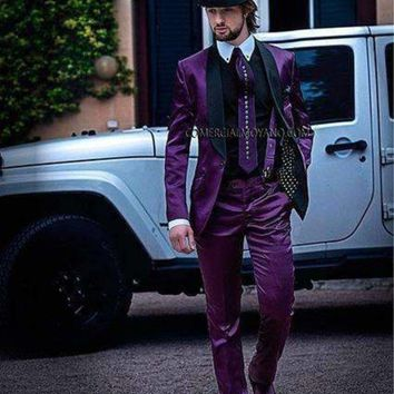 DCCKON3 latest coat pant designs italian purple satin men suits slim fit tuxedo custom prom party style 3 piece blazer masculino z