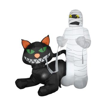 SheilaShrubs.com: Airblown Inflatable Animated Cat Eating Mummy 54585X by Gemmy: Halloween