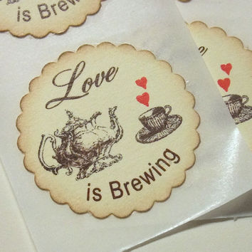 Love is Brewing Stickers - Set of 12 - Envelope Seals