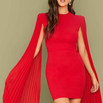 Fitted Pleated Cape Dress