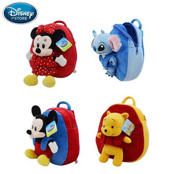 Disney Backpack School Bag Plush Toys Winnie The Pooh Mickey Mouse Minnie Stuffed Doll Birthday Gift For Children
