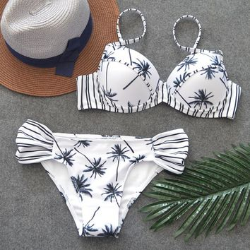 Summer push up swimwear print bikini