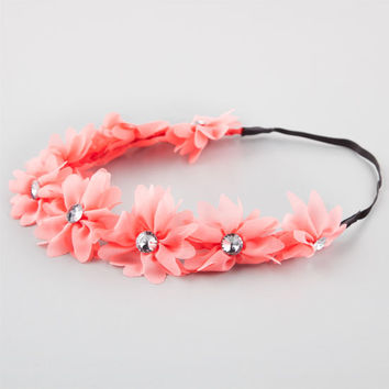 Full Tilt Chiffon Flower Headband Coral One Size For Women 21998731301