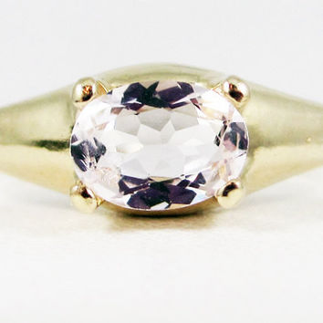 Pink Morganite Oval 14k Yellow Gold Dome Ring, Solid 14 Karat Gold Ring, 14k Gold Morganite Ring, Morganite Oval Ring
