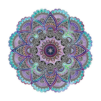 Mandala Print / Mandala Art / Sacred Geometry Print / Yoga Print / Meditation Print / Watercolor Mandala / Square or Rectangle / Up to 13x19