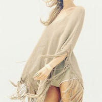 Khaki Knit Fringed Poncho Beachwear