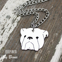 Gorgeous hand- cut English bulldog necklace, bulldog jewelry, pet necklace, dog, bully, chain