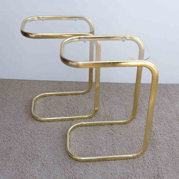 Vintage Glass Side Tables Hollywood Regency Glam Tubular Set of Two Mid Century Gold Tone Metal Modern Eclectic Furniture