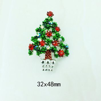Fashion Chain Jewelry Christmas Tree Rhinestone Brooch Jewelry Alloy 32*48mm Wonderful gift #45