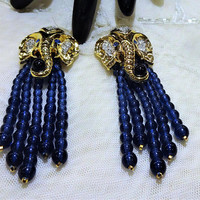 "Gorgeous Vintage Elizabeth Taylor for Avon ""Elephant Walk"" Collection Earrings"