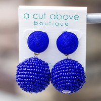 Beaded For You Earring - Royal Blue