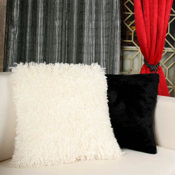 "Handmade Ivory Shaggy Sqaure Pillow Covers 18""X18""   Made to Order -Free Fedex Delivery-"