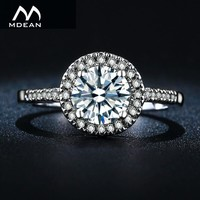 MDEAN Wedding Rings for Women Engagement Bague White Gold Color Accessories AAA Zircon Jewelry Size 5 6 7 8 9 10 11 12 MSR038
