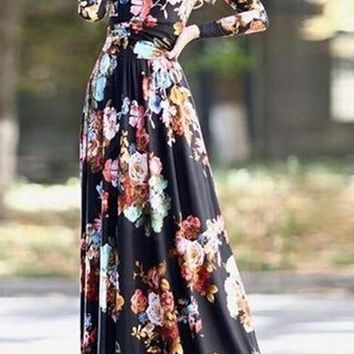 Black Floral Print Islamic Muslim Round Neck Fashion Abaya Maxi Dress