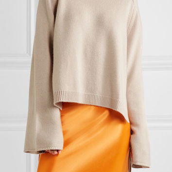 Tibi - Silk-paneled cashmere sweater