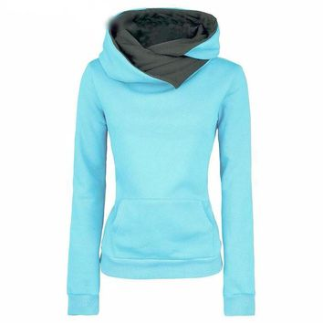 Women's Casual Solid Hoodies with Lapel Hood and Turn-down Collar