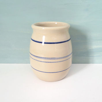 Small Pottery Crock Cream with Blue Stripes Signed