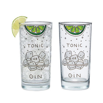 Gin and Tonic Diagram Glassware - Set of 2 | highball glass