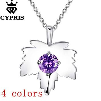Fashion Silver Leaf Pendant Necklaces For Women