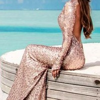 Sexy Long Sleeve Halter Sequin Maxi Dress